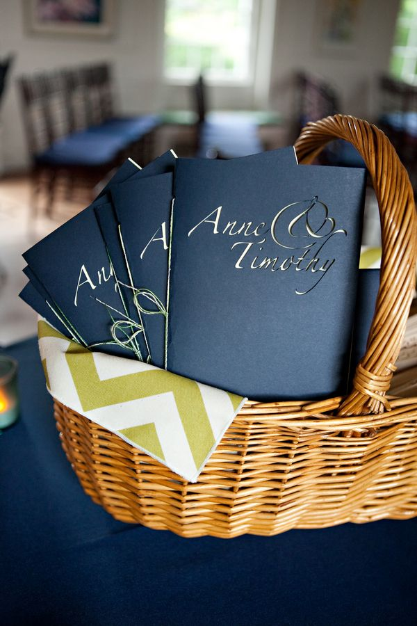 programs from Tim & Anne's modern, brightly colored Northern VA wedding