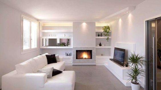 Idee pareti soggiorno in cartongesso | Modern fireplace ...