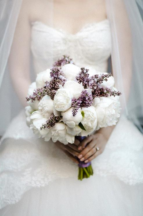 Huge Blooms Of Ruffled White Peonies With Lilacs Make For A Truly Feminine Bridal Bouquet
