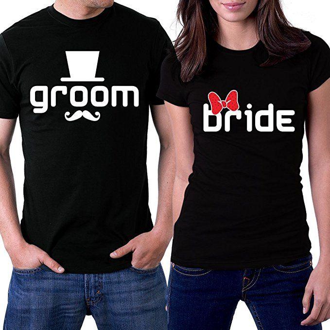 5e712b3b27 PicOnTshirt Groom & Bride Hats Ribbon Black Couple T-shirts | wedding