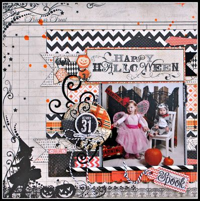 """Cathy used the new Authentique """"Thrilling"""" Collection for her Halloween layout today.  It is available at www.scraptownlady.com"""
