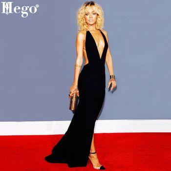 Hego 2015 nouveau mode femmes robe de bal noir Sexy Backless Bandage Cocktail robe Cut Out H1296