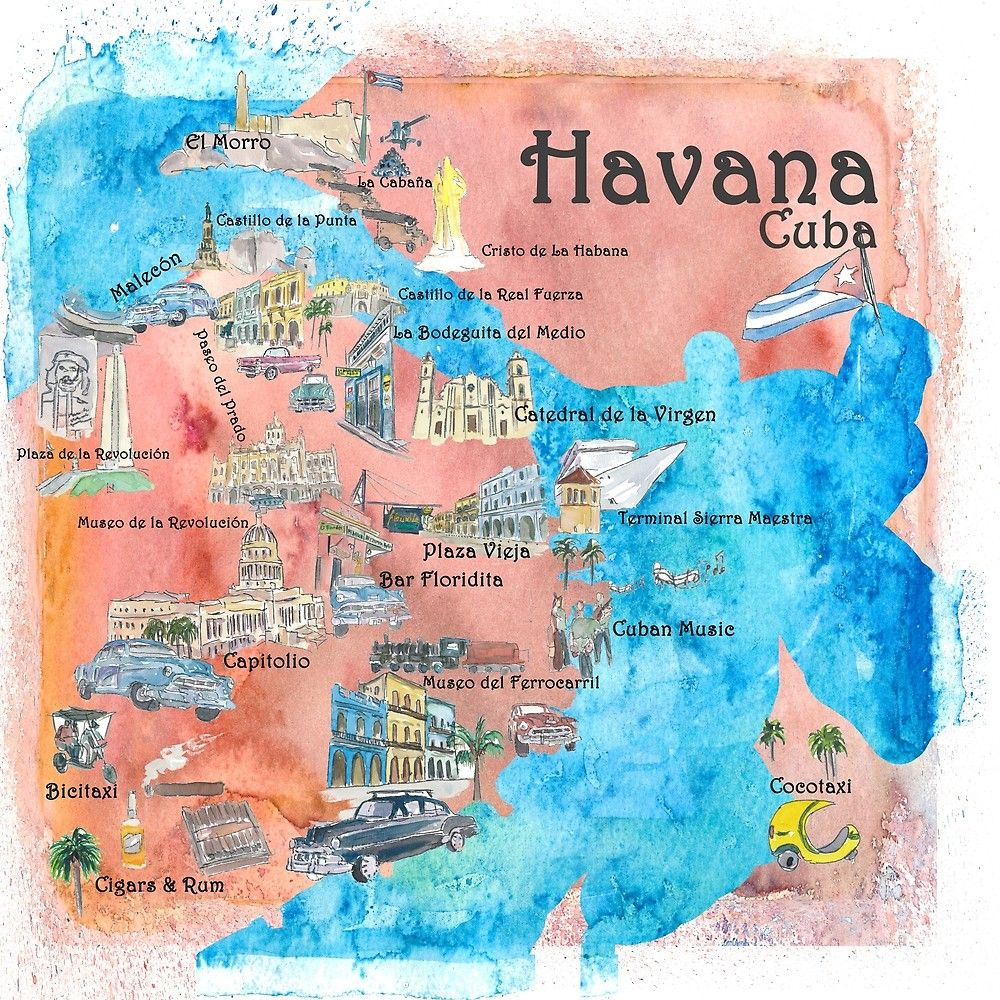 Havana Cuba Illustrated Travel Poster Favorite Sightseeing Map