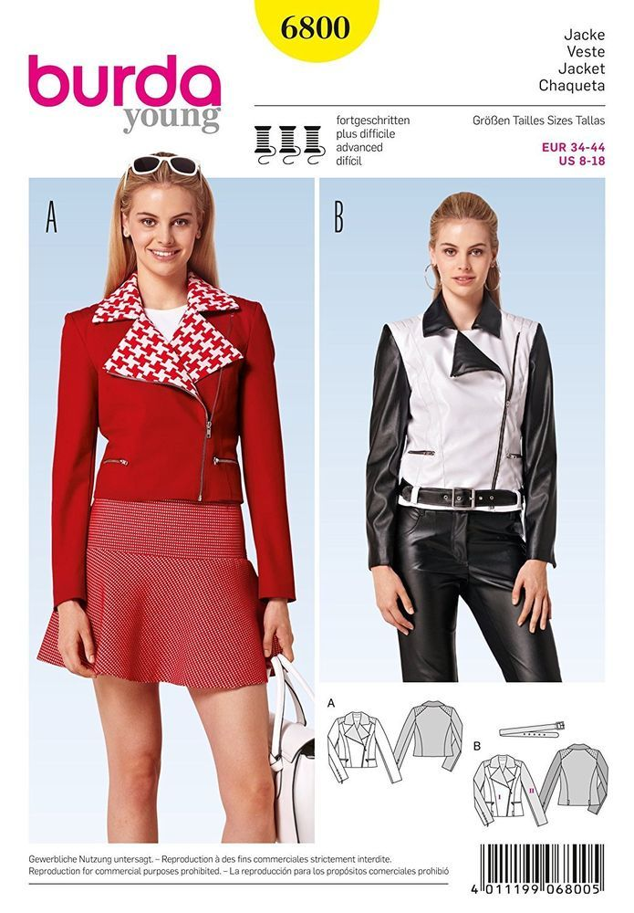 Burda 6800 Young Women Fitted Jackets Sewing Pattern Miss 8-18 UNCUT ...