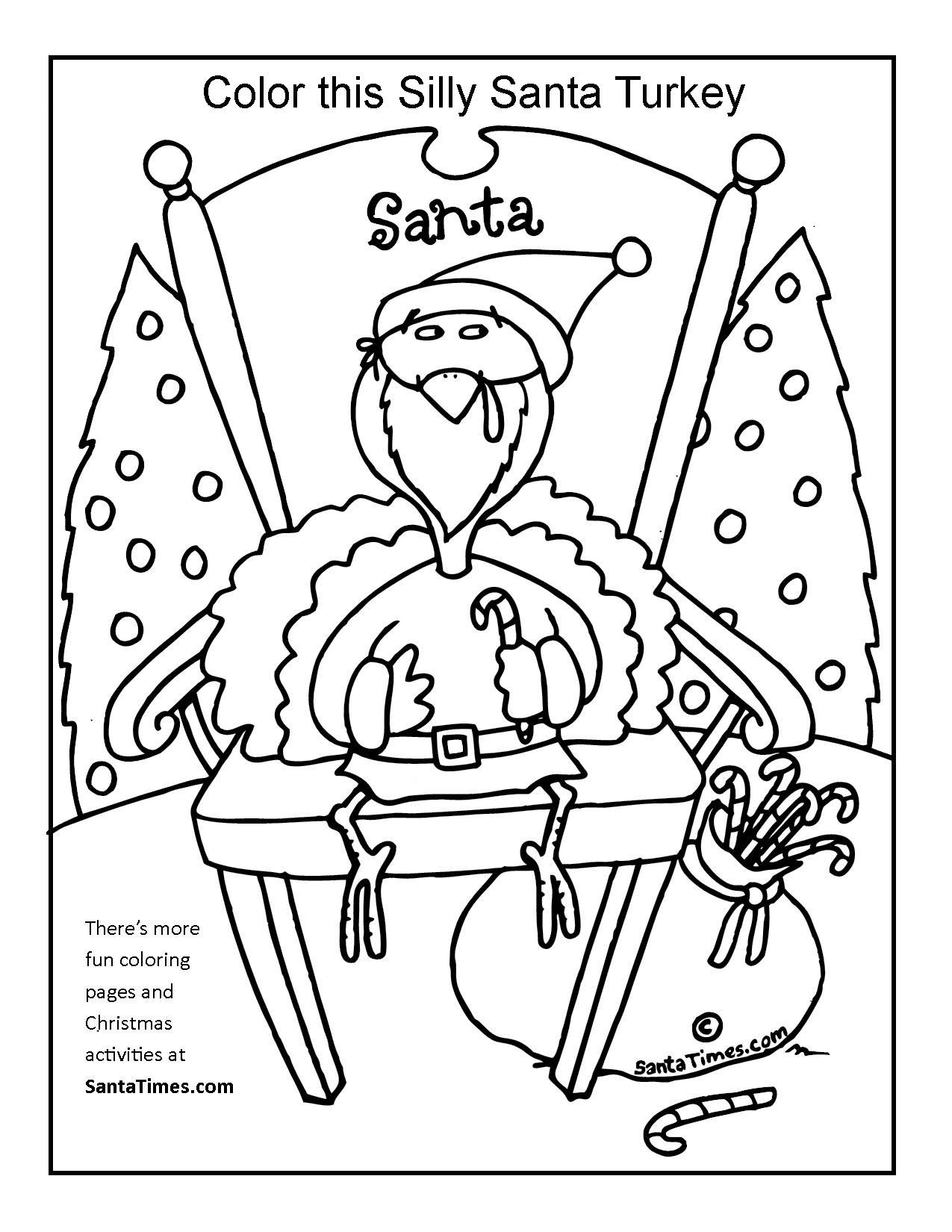 Silly Santa Turkey Coloring Page Gt More Fun Christmas Activities And Coloring Pages At