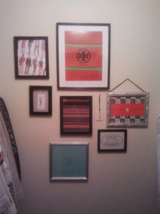 DIY closet decoration using thrifted picture frames spray painted ...