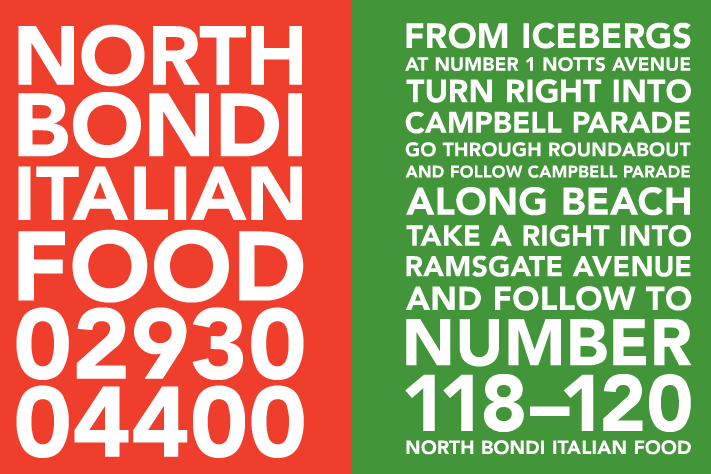 North Bondi Italian No Variations To The Menu  Italian