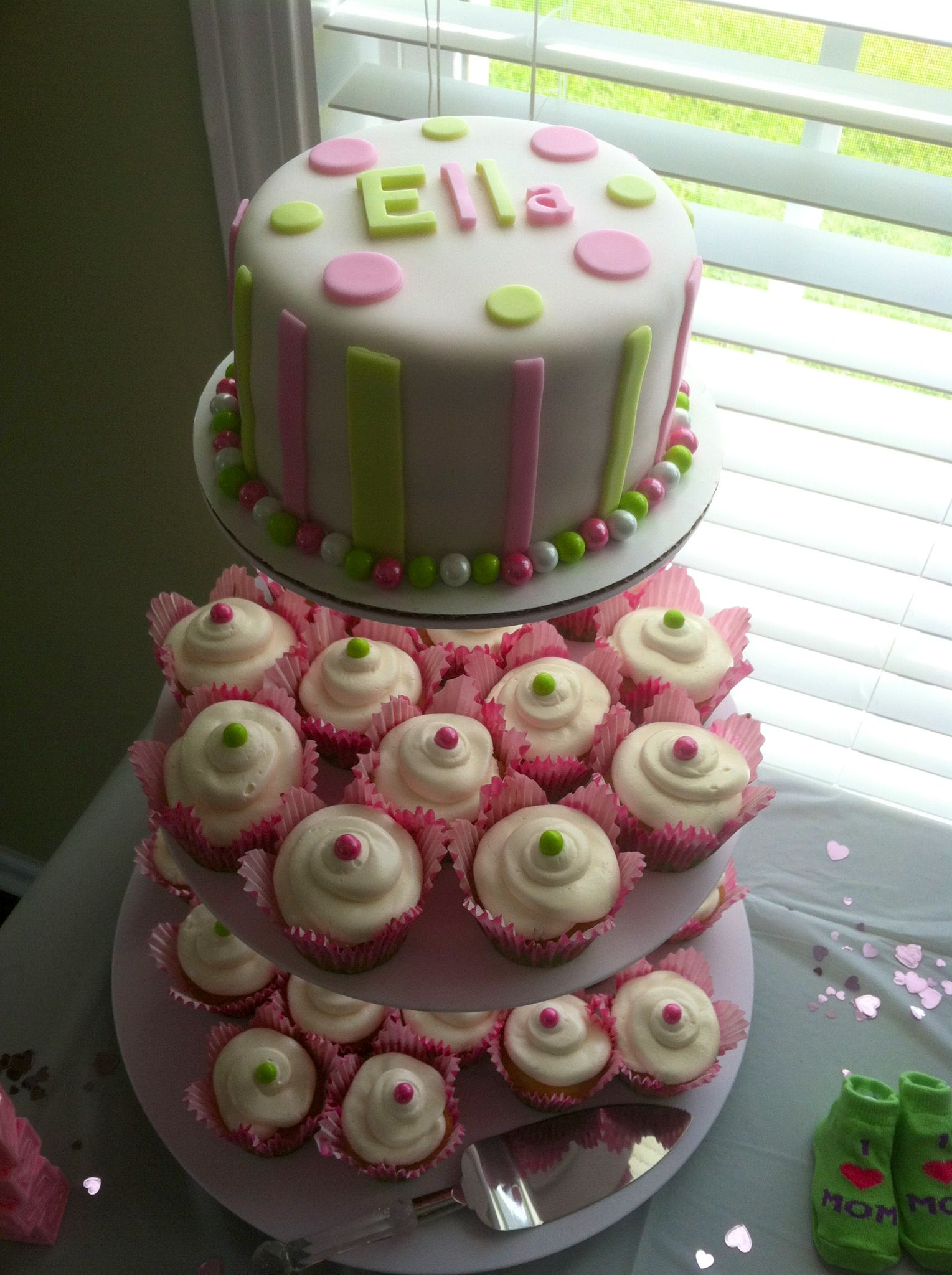 Baby girl baby shower cake cupcakes Love the idea of cake and