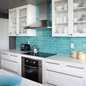Turquoise Subway Tiles Contemporary Kitchen House Home Tiffany Blue Kitchen Turquoise Kitchen Kitchen Colors