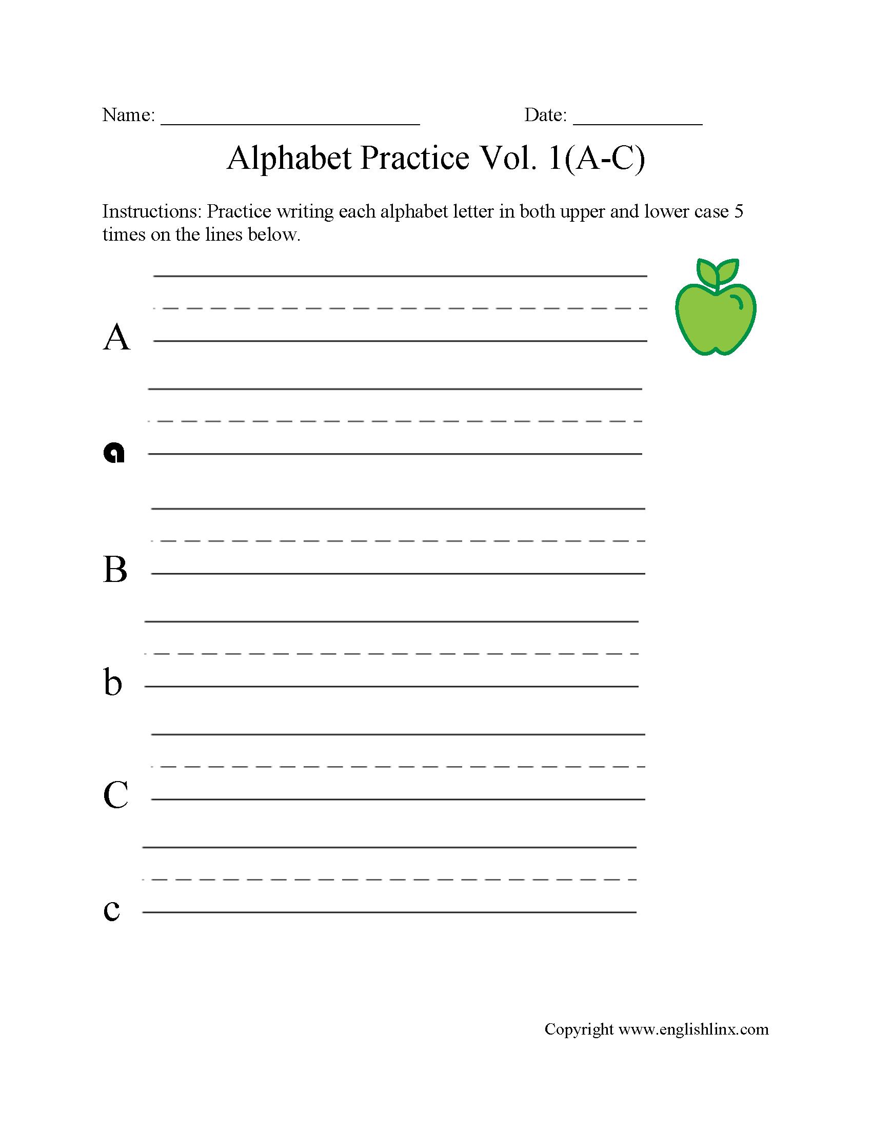 A To C Writing Alphabet Worksheet