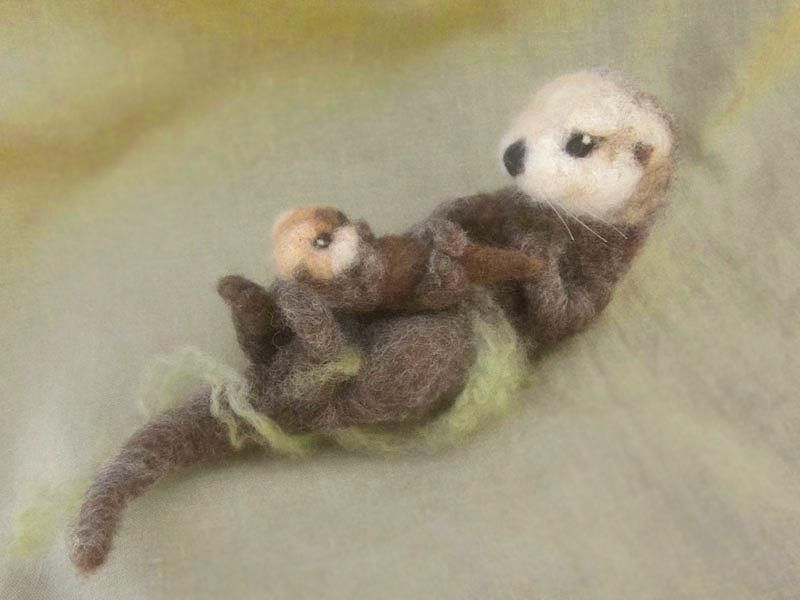Needle felted sea otter and pup by Ainigmati on Etsy This is amazing!