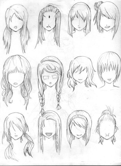 Hair reference art anime manga drawing sketch hairstyle