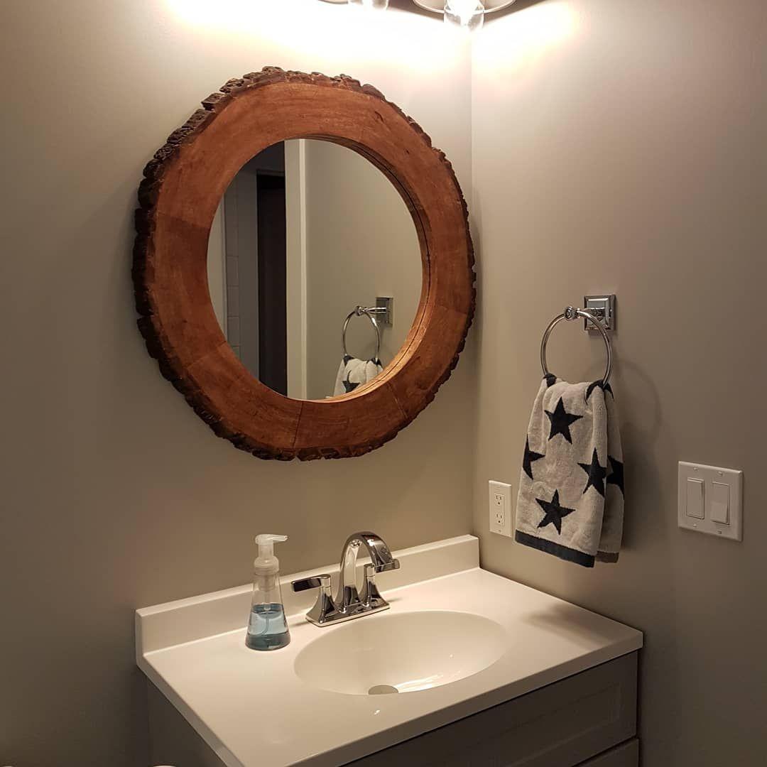 Bathroom Interior Designideas: Round Mirror Bathroom , Wood Mirror