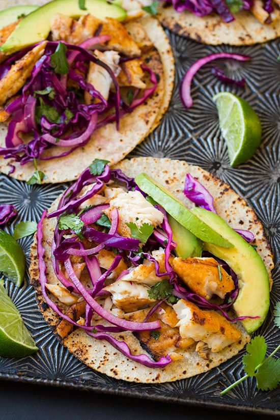 Grilled fish tacos with lime cabbage slaw recipe tacos for Cabbage slaw for fish tacos