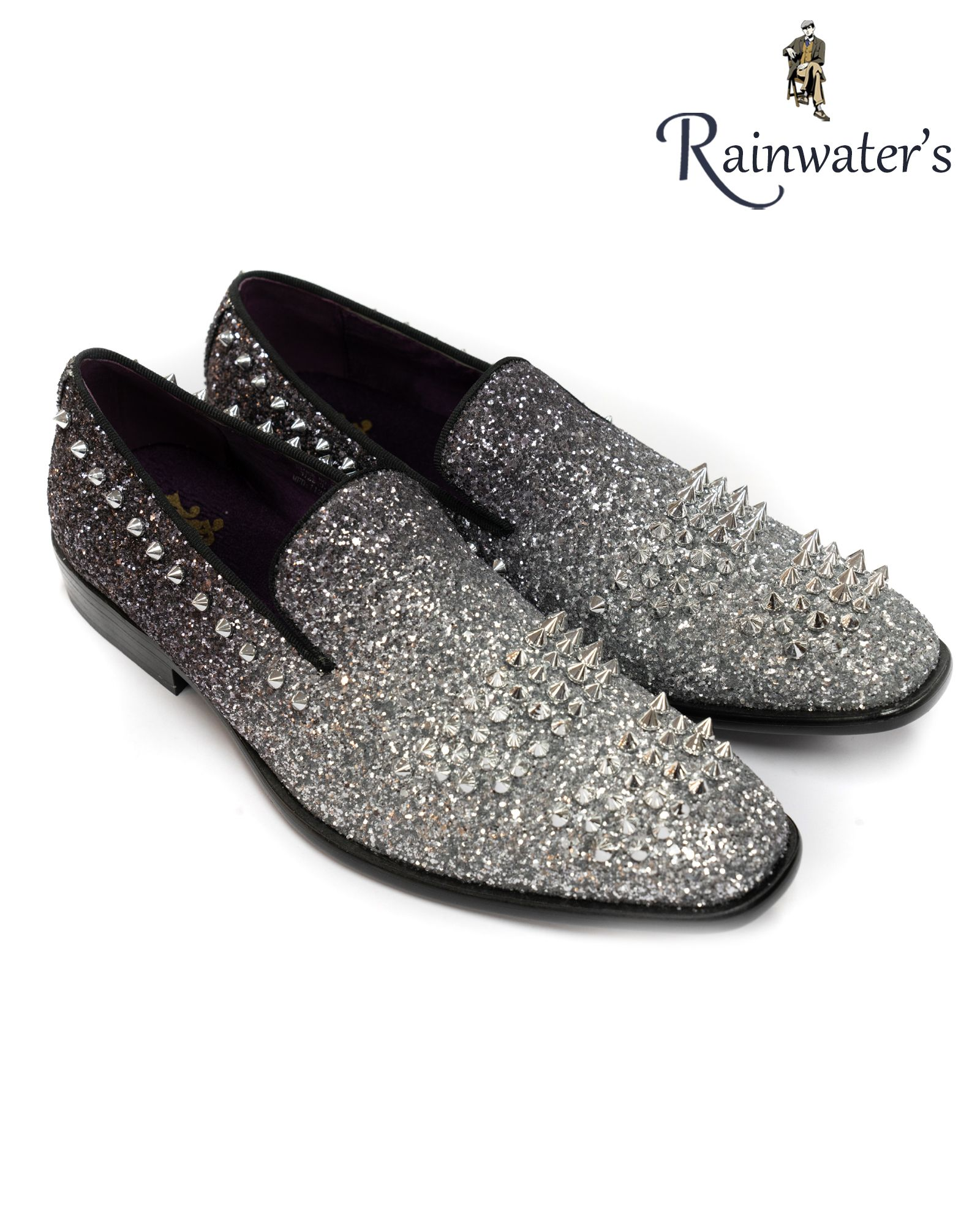 After Midnight Two Tone Glitter Spike Formal Loafer In Black Silver Formal Loafers Loafers Dress Shoes Men [ 2000 x 1600 Pixel ]