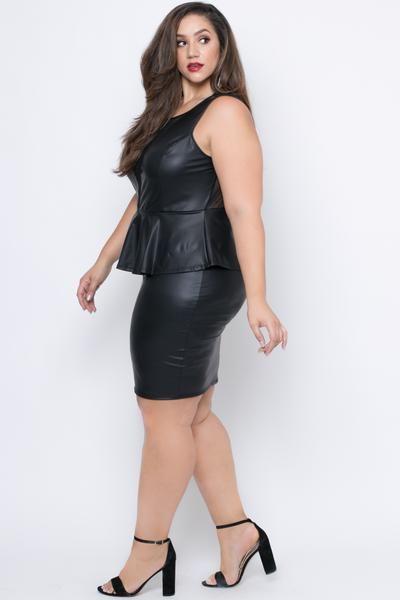 Plus Size Faux Leather Peplum Dress Black Curvy Godesses