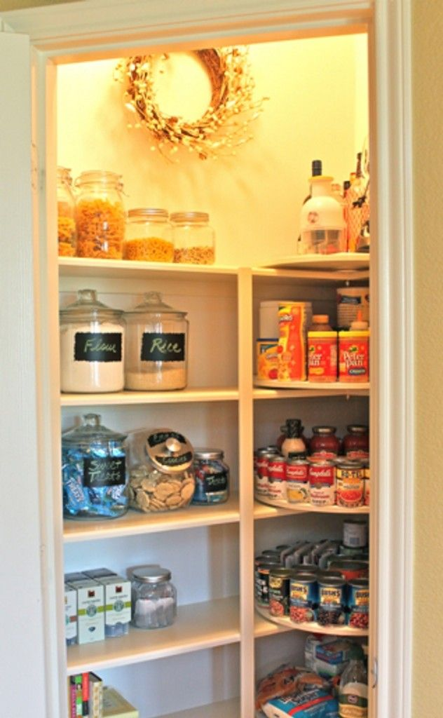 organize your pantry- esp lazy susans.  But notice, she doesn't have chips