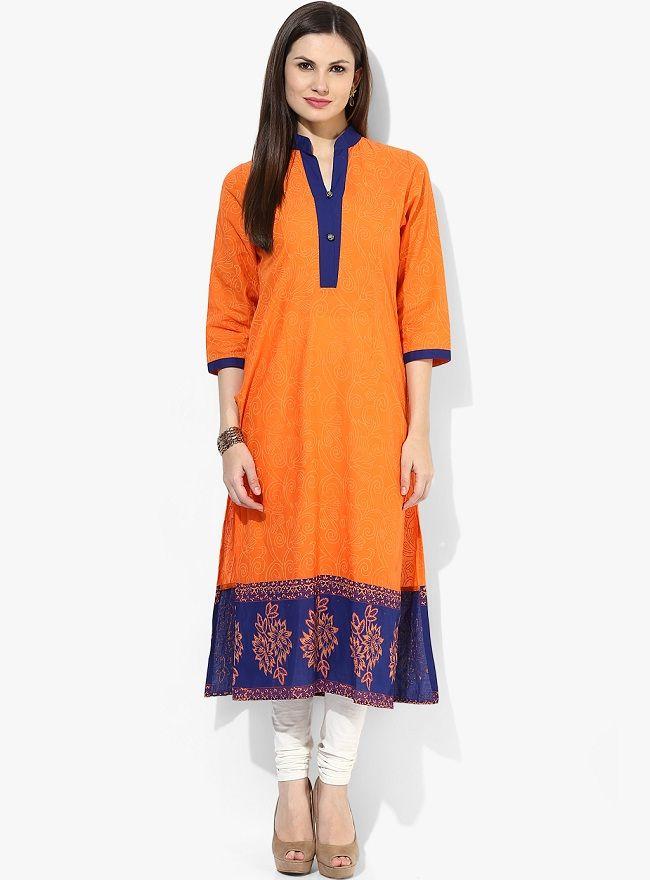 14781d3b14 orange & blue 3/4th sleeve printed kurti, staright cut kurti designs, riya  orange 3/4 sleeve solid kurta