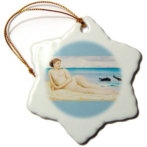3dRose orn_127996_1 Actaea, The Nymph of The Shore by Frederic Lord Leighton Snowflake Ornament, Porcelain, 3-Inch >>> Check this awesome image  : Wedding Decor