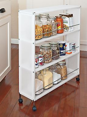 Slim Frosted Rolling Shelves Portable Cabinet Solutions