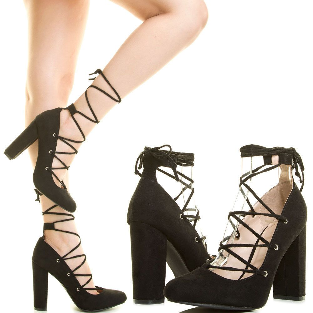 765490f9802 BLACK CLOSED TOE STRAPPY WRAP TIE LACE UP CHUNKY THICK HIGH HEEL WOMEN PUMP  SZ 7  US  Strappy  Casual