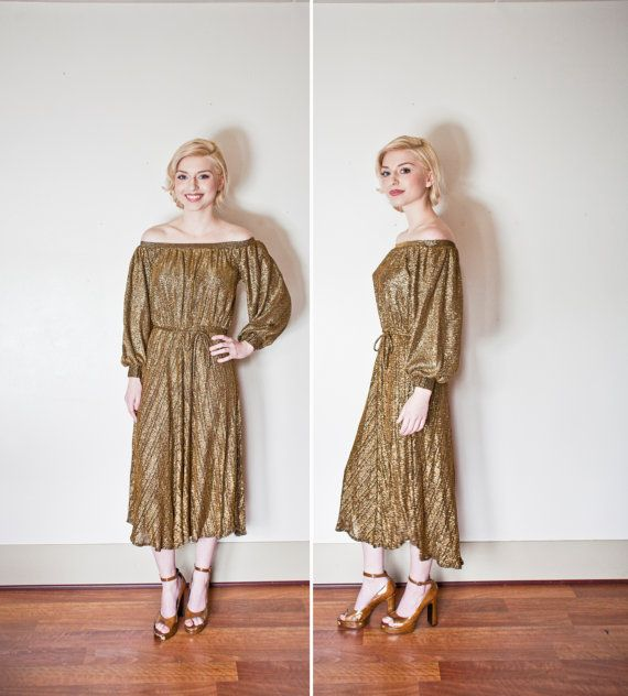 Vintage 1970s Dress - JOY STEVENS Gold Lame Disco Party Godess ...