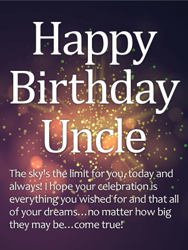 Sparkle Happy Birthday Wishes Card For Uncle For An Uncle Who Is