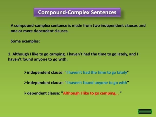 Presentation of the type of sentences (compound complex sentence ...