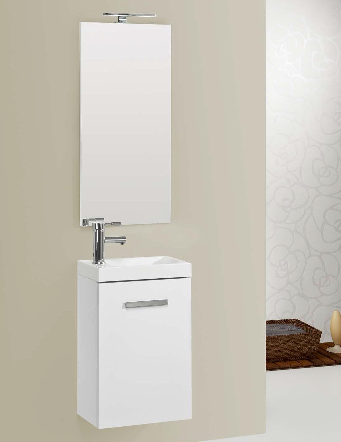 Ensemble meuble lave main domino en 40x22 cm compos d 39 un - Hauteur d un miroir de salle de bain ...