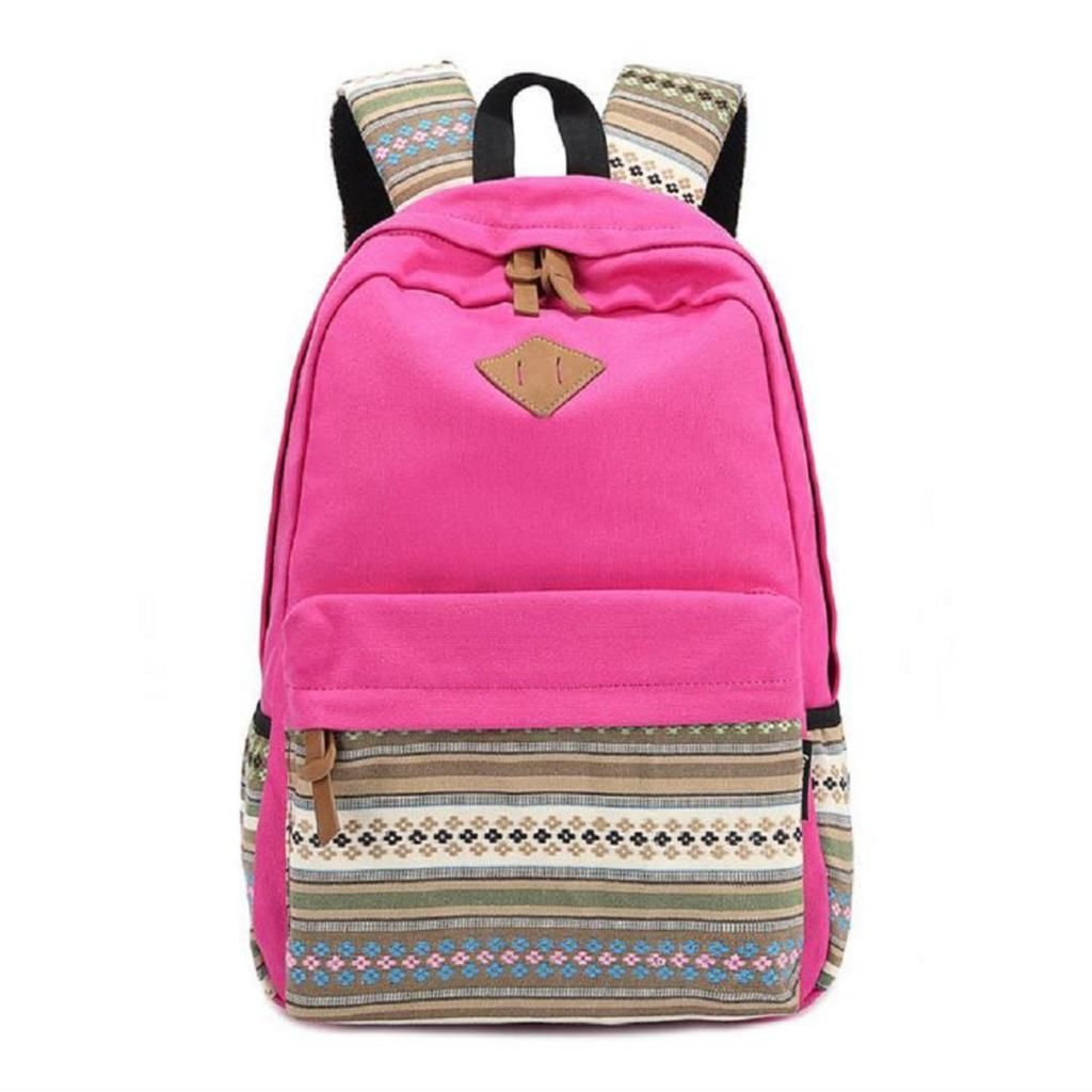 b6839006e7 Ladies Vintage Canvas Backpack Retro Vintage backpack for outdoor camping  picnic Sports University backpack schoolbag Rose Red