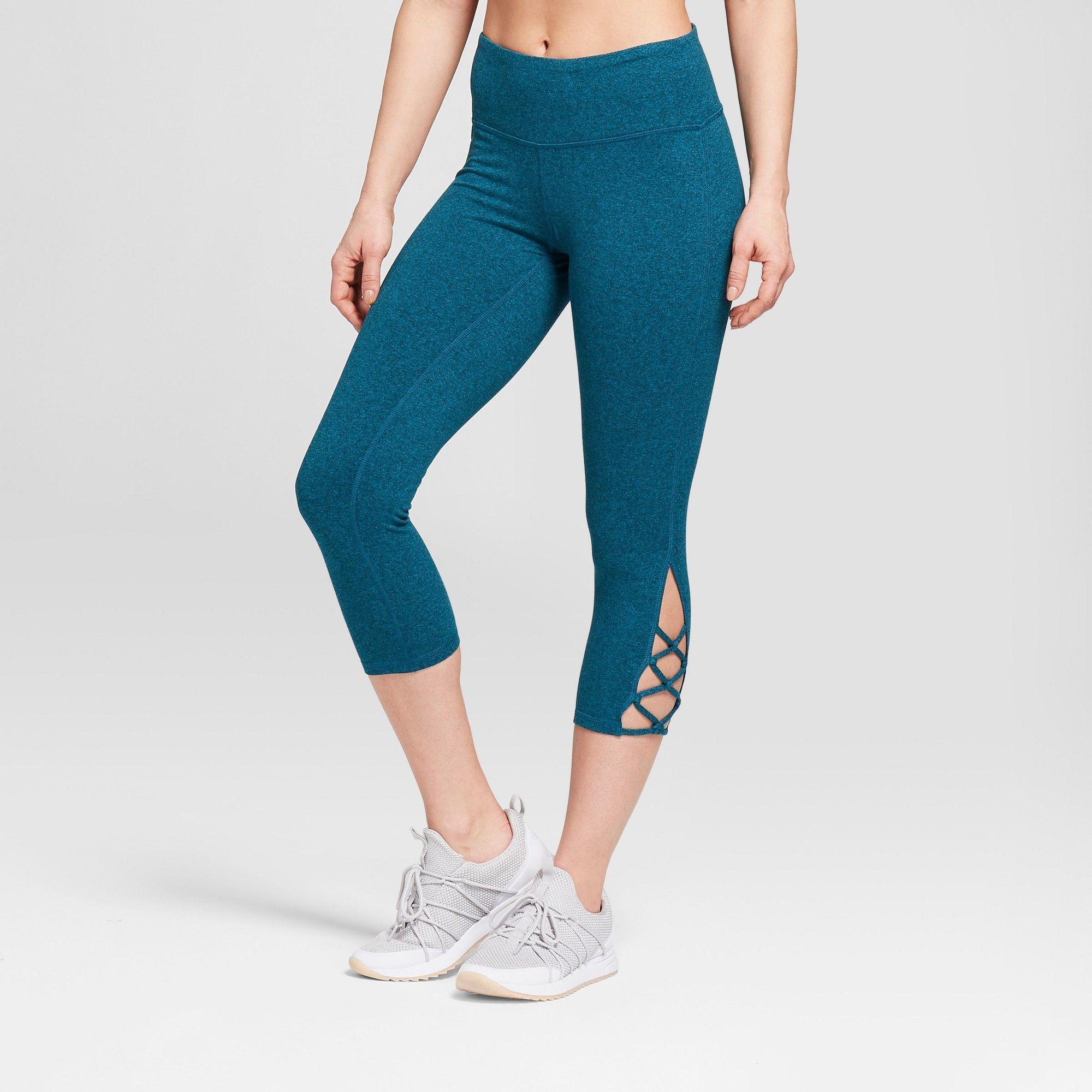 933c4a6f92c638 Women's Freedom High-Waisted Lattice Capri Leggings - C9 Champion Mermaid  Green Xxl