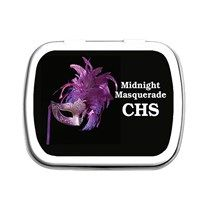 Purple Feather Mask Personalized Mint Tins