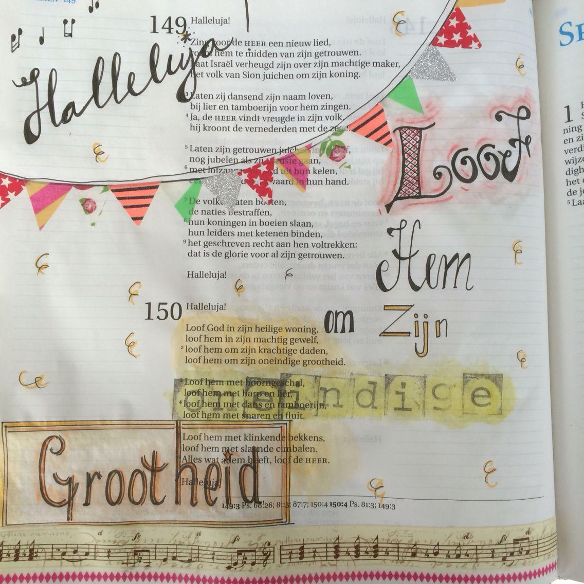 Psalm150 Loof Hem om zijn oneindige grootheid Bijbeljournaling Biblejournaling Craftbijbel  Handlettering