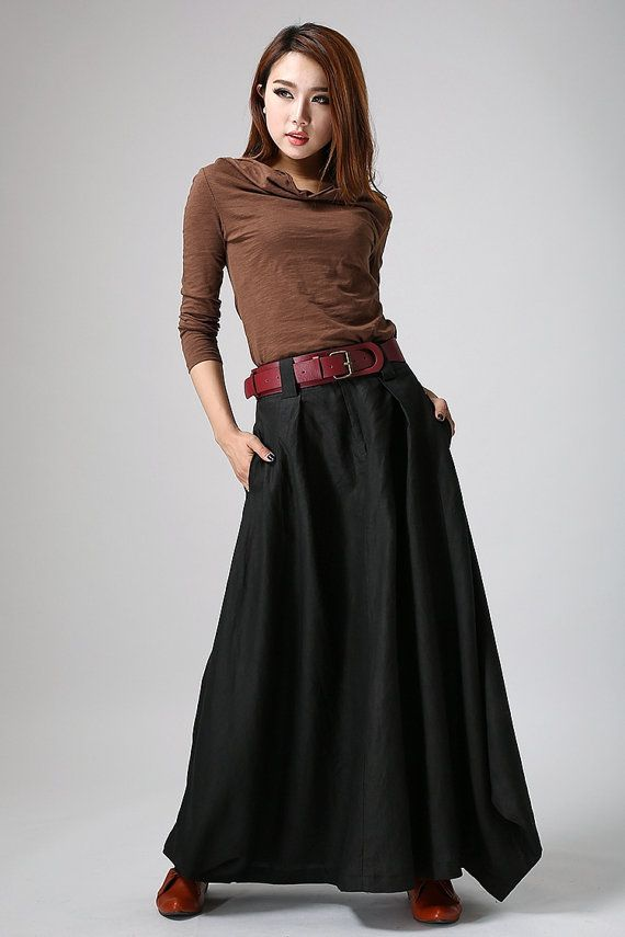 5480a97c2 Black skirt, long linen skirt, maxi skirt, linen skirt, womens skirt ...
