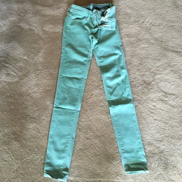 """Knit jeggings """"Sateen"""" knit Jegging. 80% cotton 18% polyester 2% elastane. Super super stretch. Mint. Hi rise. 32"""" inseam. American Eagle Outfitters Pants Leggings"""