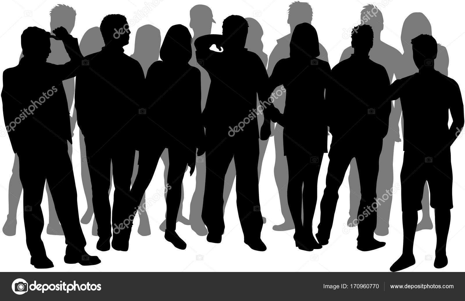 Multitud De Gente Silueta: Background Vectores Grupo De Gente Alabando