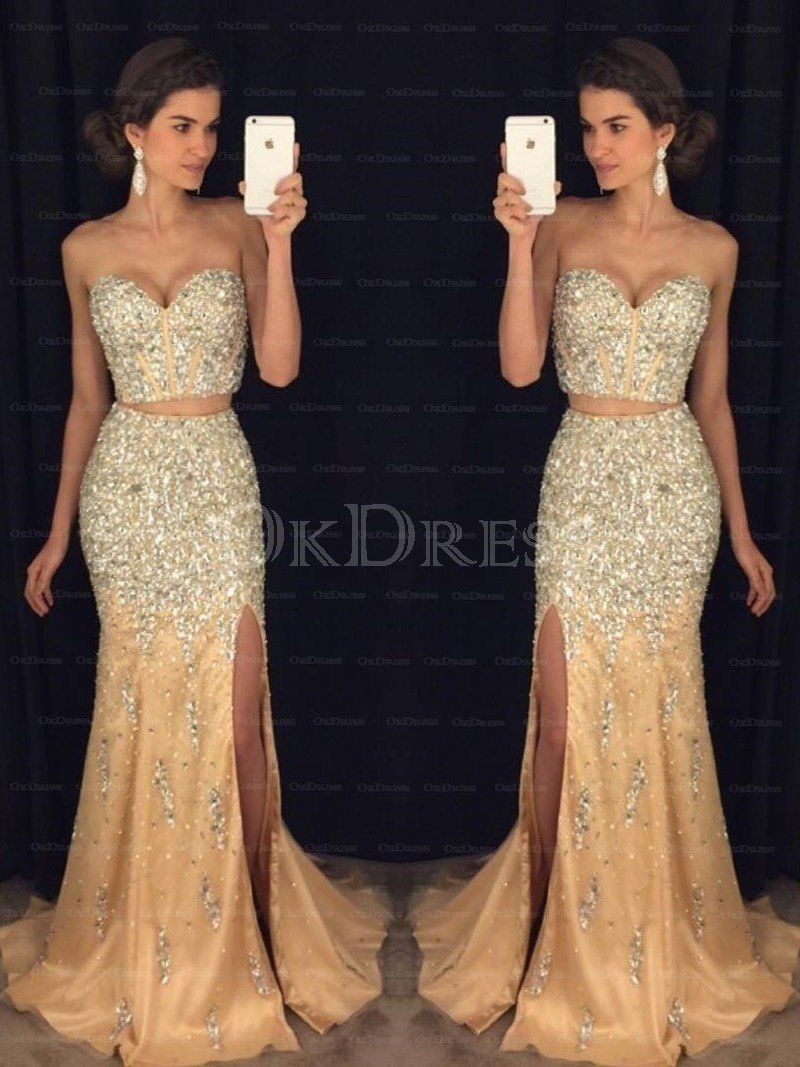 Beautiful Tulle Sweep Train Beading Sweetheart Prom Dresses - by ...