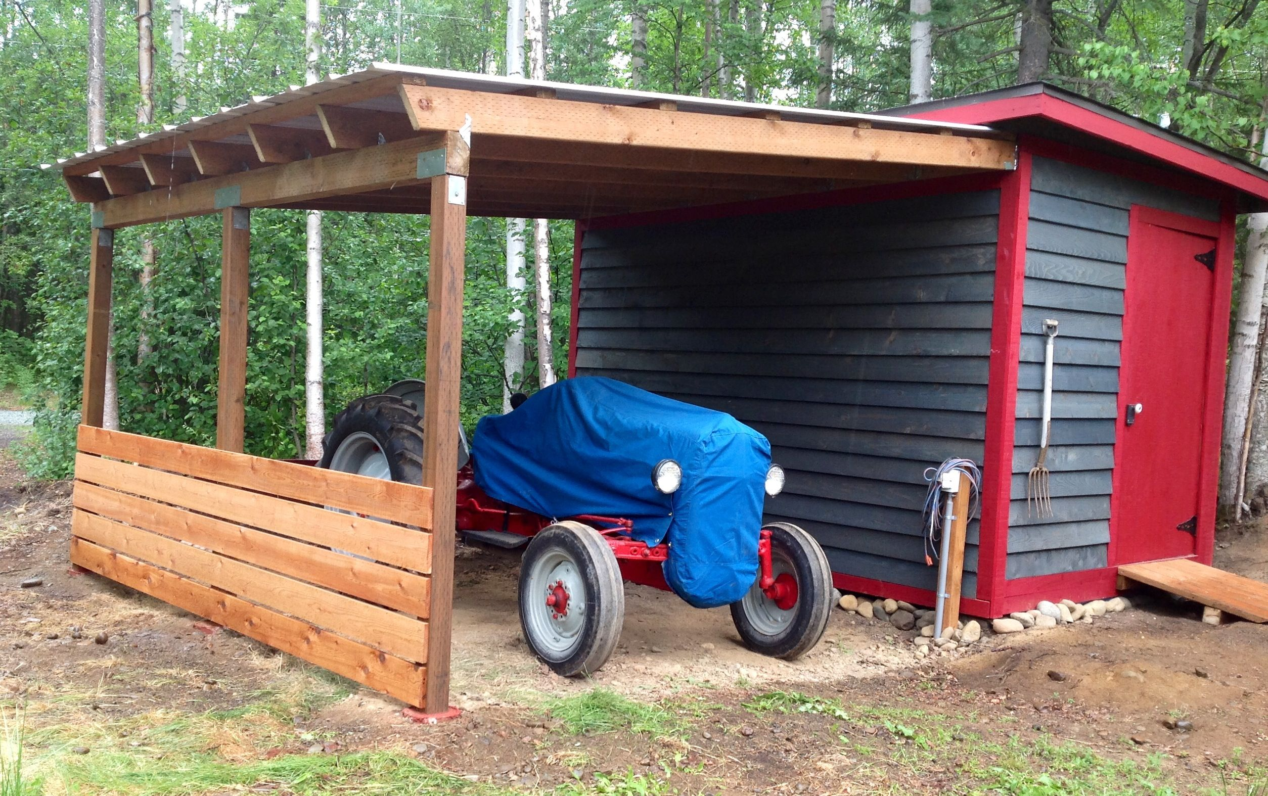 My lean to roof with a shed upgrade for my 1950 8n tractor for Tractor garage plans