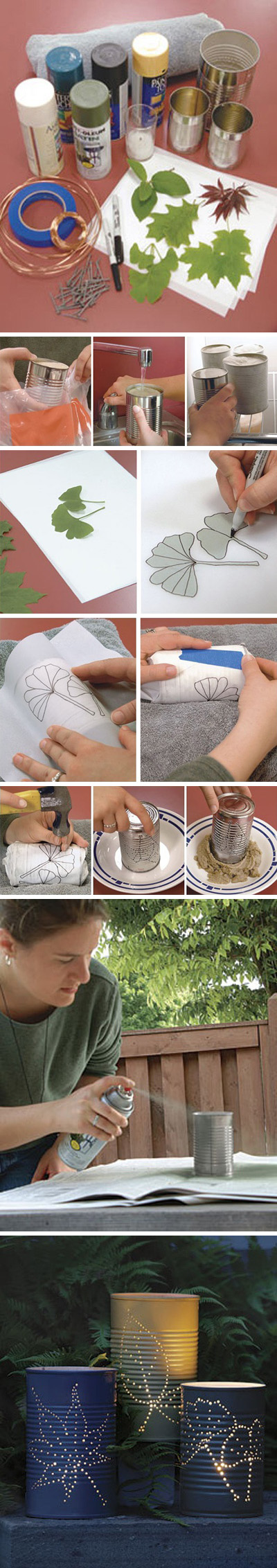 Recycled/Upcycled tin can lantern.  I have made can laterns before and these look super easy.  As well, what great inspiration for design.  I love the leaf pattern!