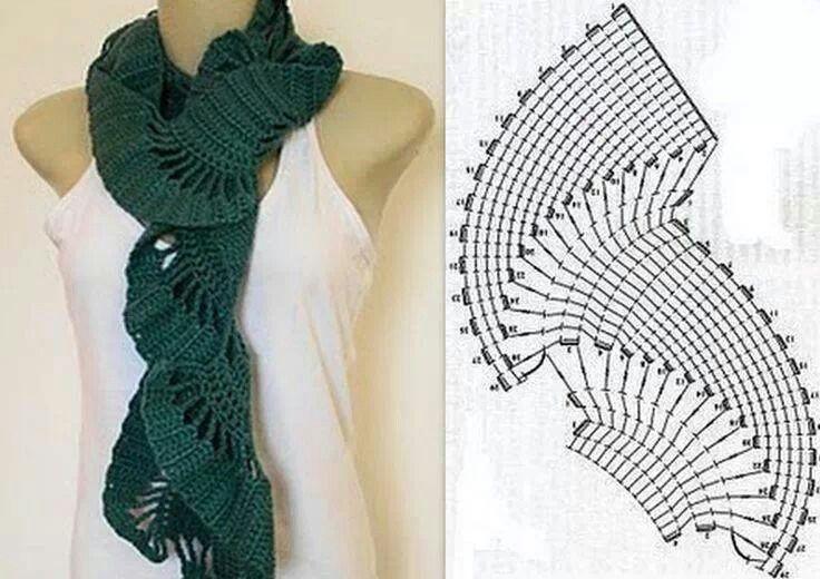 Crochet scarf pattern | bufandas | Pinterest | Tejido, Chal y Ganchillo