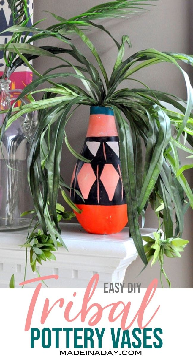 Looking for unique home decor for your boho abode? Make your own DIY Painted Tribal Vases: Faux Pottery from thrift store finds. #globaldecor #globalstyle #bohostyle #pottery #faux #tribal #fauxpottery #DIY #diydecor #painted #vase #tribalpattern