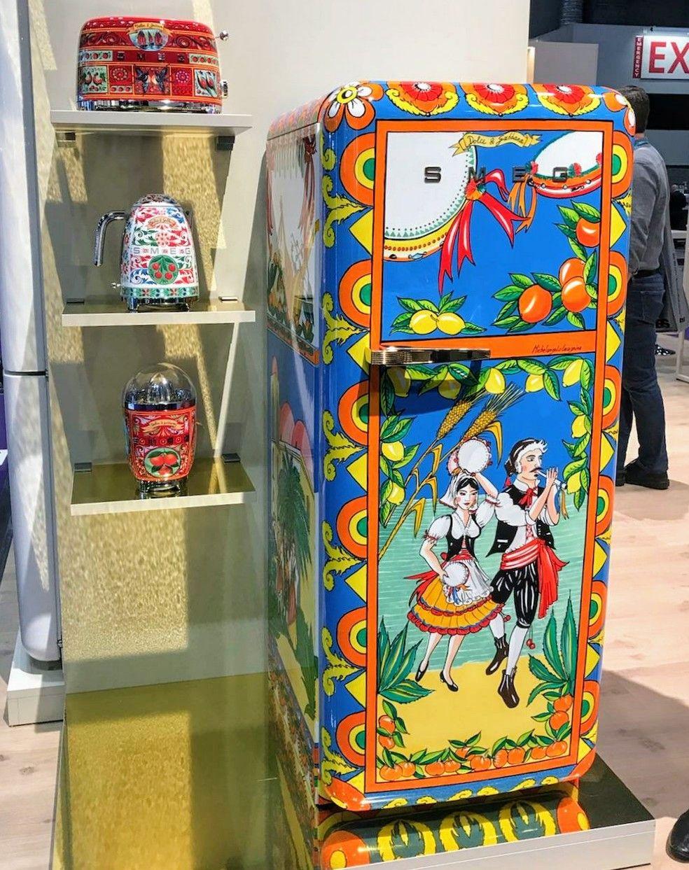 ec95159d2dd0 Smeg   Dolce+Gabbana collaboration.  kbis2018  kitchendesign  kitchen   refrigerator  fridge  toaster  blender  art  italian  classic  modern   bold  bright ...