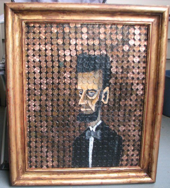 Wall Hanging Lesson Plan: Penny Folk Art Painting Framed, Abe Lincoln