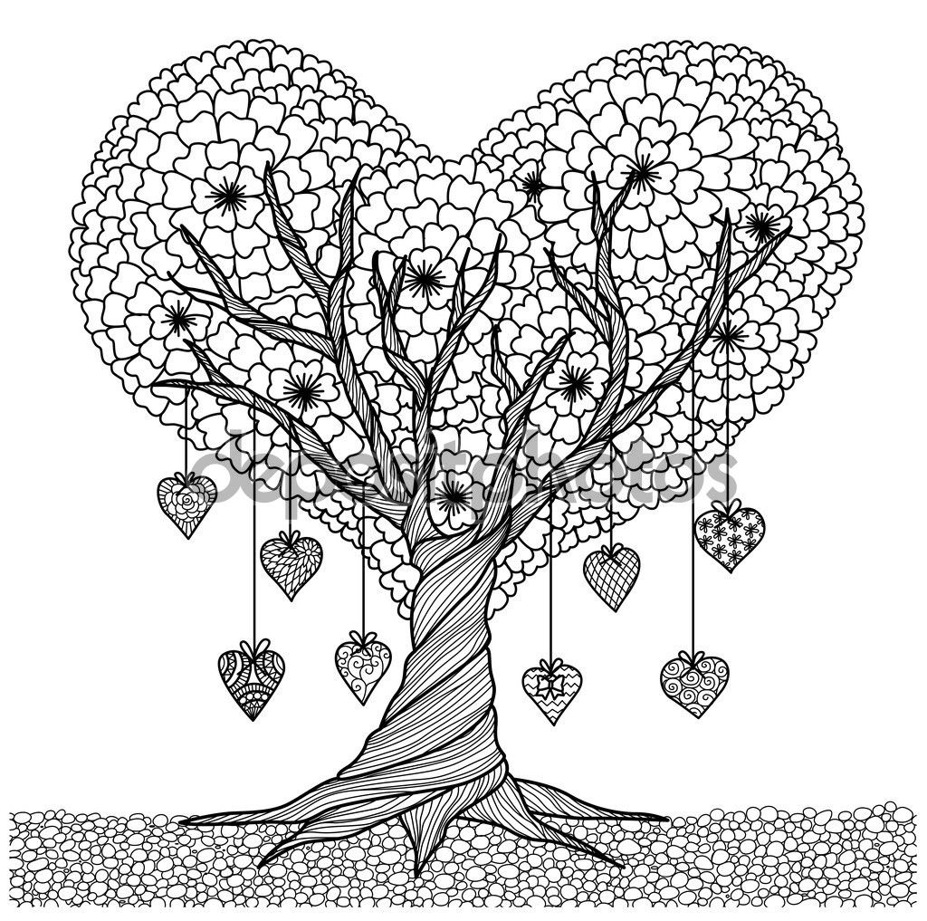 Hand Drawn Heart Shape Tree For Coloring Book For Adult Or