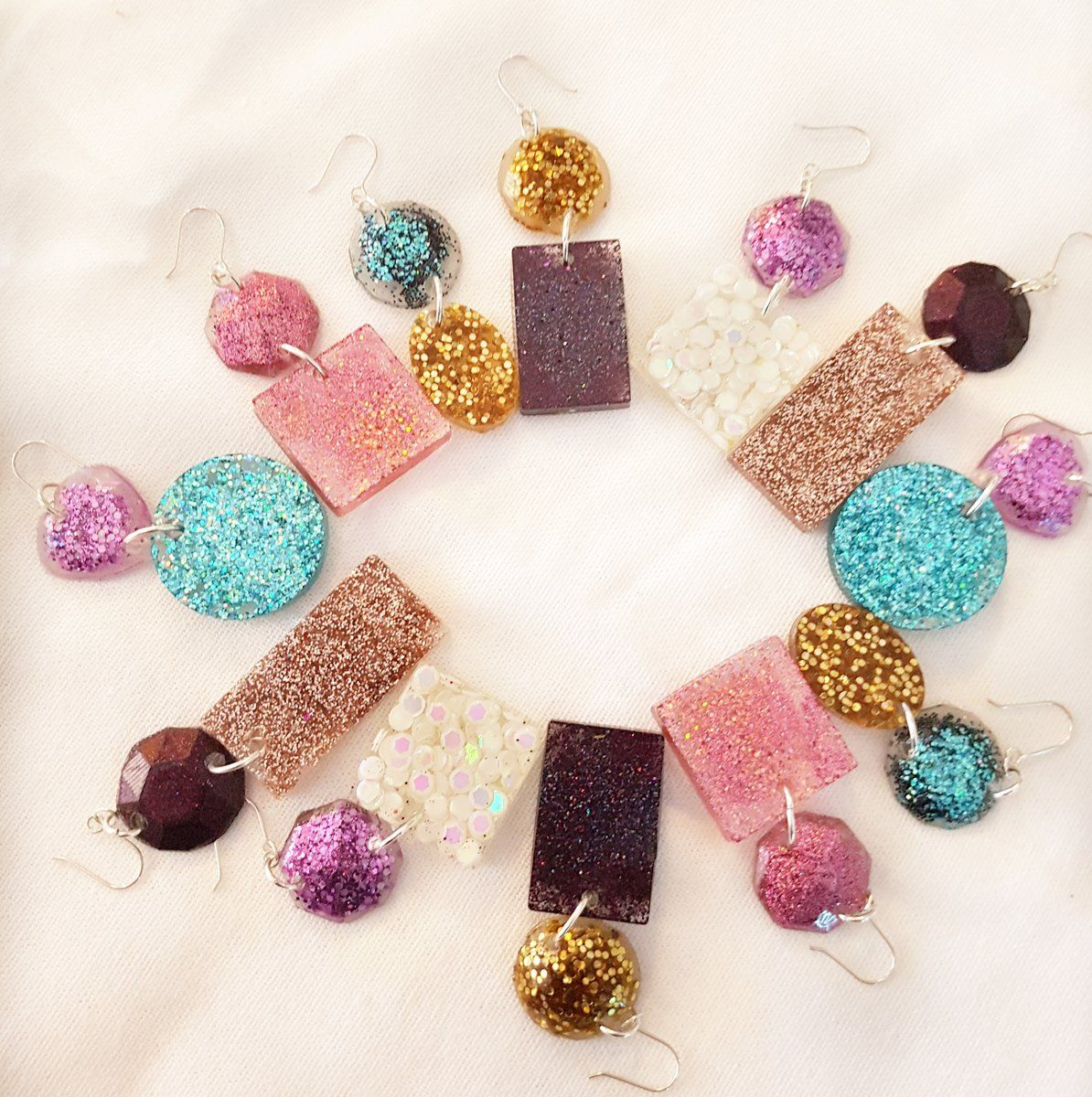 Handcrafted resin earrings using glitter the perfect