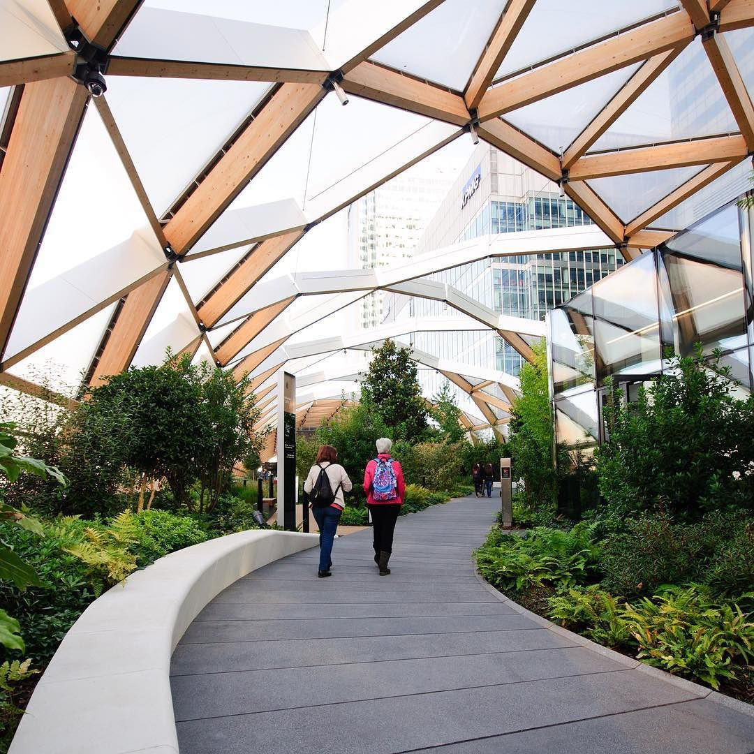 A Glorious Gridshell Garden #fosterandpartners #canarywharf #crossrail  #london #architecture #roof