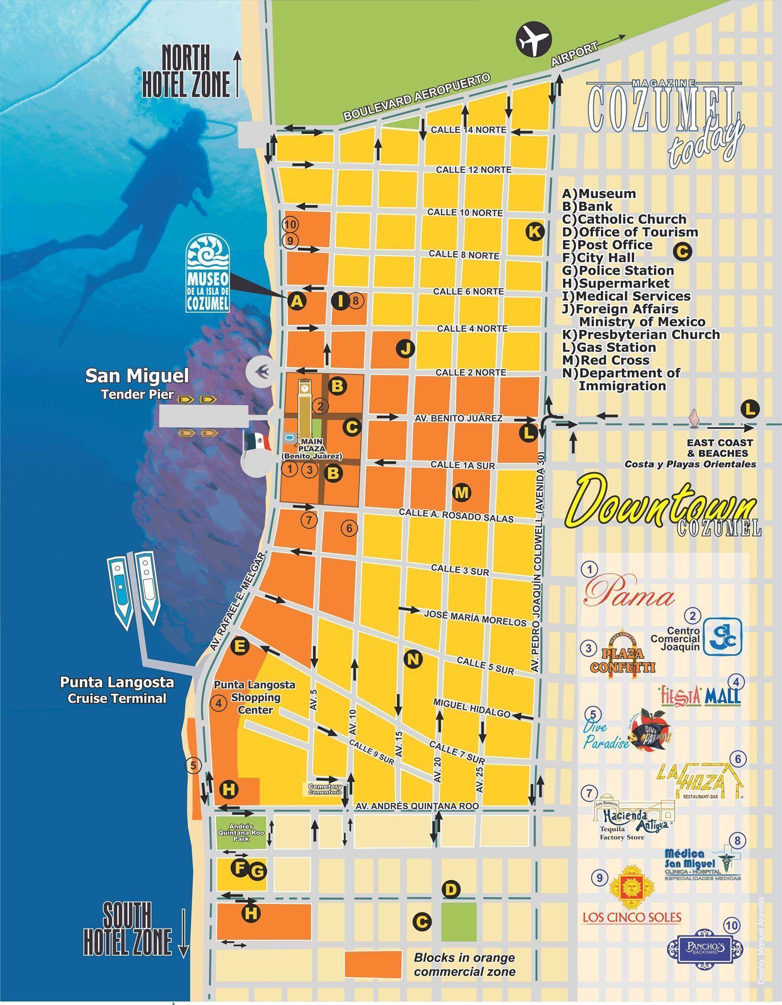 Downtown Cozumel Map Cozumelcruise Cozumel Map Cozumel