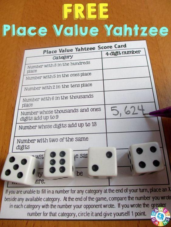 Place value yahtzee curriculums y maestros solutioingenieria Choice Image