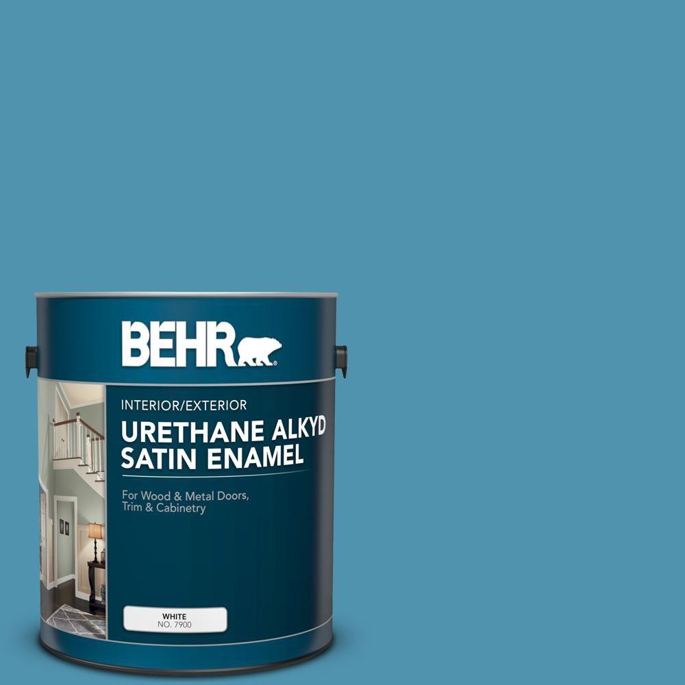BEHR 1 gal  #AE-46 Champion Blue Urethane Alkyd Satin Enamel
