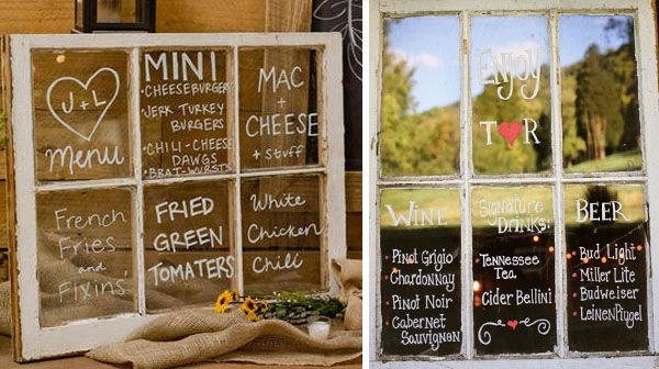 wedding menu ideas: old windows
